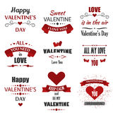 Valentine`s Day badges, heart icons, symbols illustrations and typography  design elements. Royalty Free Stock Photography