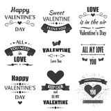 Valentine`s Day badges, heart icons, symbols illustrations and typography vector design elements. Royalty Free Stock Image