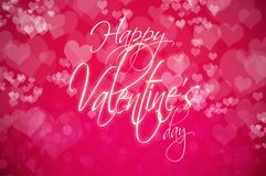 Valentine`s Day greeting card with heart shaped bokeh and Callig. Valentine`s Day bakground with heart shaped bokeh and Calligraphy Stock Photography