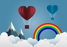 Valentine`s Day balloon heart-shaped floating in the sky and bea Royalty Free Stock Photos