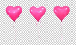 Valentine`s Day balloons. Set of realistic pink helium balloons of heart shape and ribbons.  vector illustration