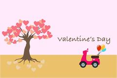 Valentine`s Day banner or card with a motorcycle And the tree of love stock illustration
