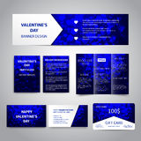Valentine`s Day banner. Flyers, brochure, business cards, gift card design templates set with blue hearts on blue background. Corporate Identity set Royalty Free Stock Photography