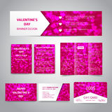 Valentine`s Day banner. Flyers, brochure, business cards, gift card design templates set with pink hearts on pink background. Corporate Identity set Royalty Free Stock Images