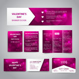 Valentine`s Day banner. Flyers, brochure, business cards, gift card design templates set with pink hearts on pink background. Corporate Identity set Royalty Free Stock Photos