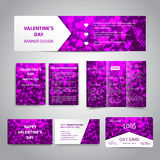 Valentine`s Day banner. Flyers, brochure, business cards, gift card design templates set with pink hearts on purple background. Corporate Identity set Royalty Free Stock Images