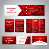 Valentine`s Day banner. Flyers, brochure, business cards, gift card design templates set with red hearts on red background. Corporate Identity set, advertising Stock Photos