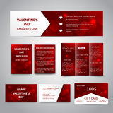 Valentine`s Day banner. Flyers, brochure, business cards, gift card design templates set with red hearts on red background. Corporate Identity set, advertising Stock Photography