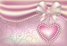 Valentine s Day banner with heart and pearls Royalty Free Stock Photography