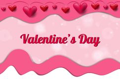Valentine`s day banner with hearts and paper cut effect stock illustration
