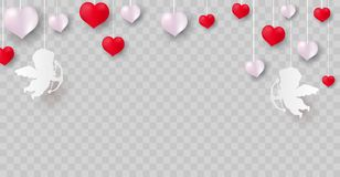 Valentine`s day, banner template. Pink heart with lettering, isolated on background. Heart tags poster design. Vector Stock Images