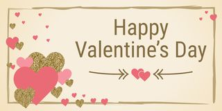 Valentine`s day banner vector. Hand drawn design for February 14. Hearts and arrows. Greeting card. Gold and pink colors. Glitter texture vector illustration
