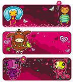 Valentine's day banners. Vector set of colorful, cartoon Valentine banners: A couple in love on a date, Cute donkey with a flower, funny animals bear and cat on Royalty Free Stock Image