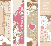 Valentine`s day banners. Four vertical Valentine`s day banners with Cupid, cupcake and love letter Royalty Free Stock Image
