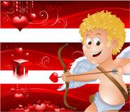 Valentine's Day banners with cupid Stock Image