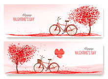 Valentine's Day banners with a heart shaped tree and a bicycle. Stock Images