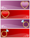 Valentine s Day Banners Set. Set of four red and pink St. Valentines or Saint Valentine s Day banners with hearts and rings. Eps file available Stock Images
