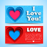 Valentine`s day banners set. Design concept Royalty Free Stock Photo