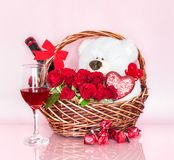 Valentine`s Day Basket with Symbols of Love Royalty Free Stock Image