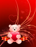 Valentine's Day Bear on Abstract Light Background Stock Photography
