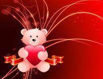 Valentine's Day Bear on Abstract Light Background Stock Images