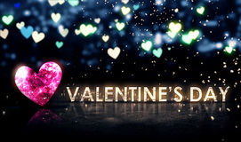 Valentine's Day Beautiful Bokeh Blue 3D. Digital Art Royalty Free Stock Photography