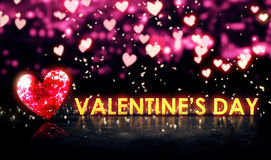Valentine's Day Beautiful Bokeh Blue 3D. Digital Art Stock Image