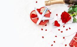 Valentine`s Day. A beautiful gift trip. Selective focus stock photos