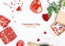 Valentine`s Day. A beautiful gift trip. Selective focus stock image