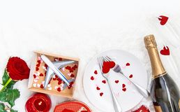 Valentine`s Day. A beautiful gift trip. Selective focus royalty free stock photos