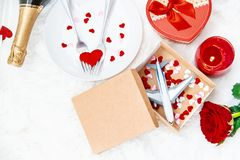 Valentine`s Day. A beautiful gift trip. Selective focus stock photography