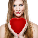 Valentine's Day.Beautiful smiling blonde girl Royalty Free Stock Image