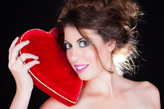 Valentine's Day Beautiful Smiling Woman Royalty Free Stock Images