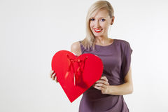 Valentine's day. Beauty blonde smiling. Stock Photo