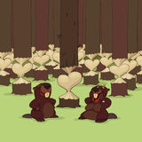 Valentine's Day of beavers. At Valentine's Day beaver is surprising his girlfriend Royalty Free Stock Photo