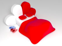 Valentine's Day bed. With hearts as headboard stock illustration