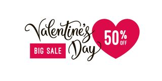 Valentine`s day big sale banner design template and special offer, clearance vector Illustration. Valentines day special offer. Valentine`s day big sale banner royalty free illustration