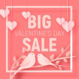 Valentine`s day big sale offer, banner template. Pink paper art heart and birds with lettering. Valentines Heart sale tags. Shop market poster design. Vector Royalty Free Stock Photography