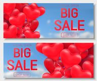 Valentine s day big sale offer, banner template. Red 3d glossy heart balloon with text. Valentine s day big sale offer, cute horizontal web banner template. Red Stock Photos