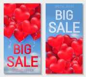Valentine s day big sale offer, banner template. Red 3d glossy heart balloon with text. Valentine s day big sale offer, cute vertical web banner template. Red Royalty Free Stock Photos