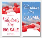 Valentine s day big sale offer, banner template. Red 3d glossy heart balloon with text. Valentine s day big sale offer, vertical web banner template. Red 3d Royalty Free Stock Images