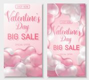 Valentine s day big sale offer, banner template. Pink and white 3d glossy heart balloon with text. Valentine s day big sale offer, cute vertical web banner Stock Images