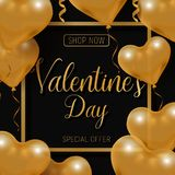 Valentine s day big sale offer, modern fashion banner template. Gold 3d glossy heart balloon with text. Valentine s day big sale offer, modern fashion square Royalty Free Stock Photography