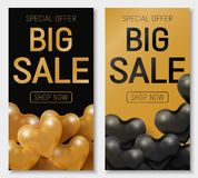 Valentine s day big sale offer, modern fashion banner template. Gold 3d glossy heart balloon with text. Valentine s day big sale offer, modern fashion vertical Stock Images
