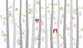 Valentine`s Day Birch Tree or Aspen Silhouettes with Lovebirds and Mason Jar Lights. Vector Format Royalty Free Stock Image
