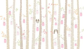 Valentine`s Day Birch Tree or Aspen Silhouettes with Lovebirds and Mason Jar Lights. Vector Format Stock Photo