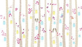Valentine`s Day Birch Tree or Aspen Silhouettes with Lovebirds and Mason Jar Lights. Vector Format Royalty Free Stock Photos