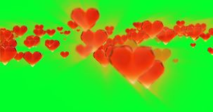 Valentine`s day birthday abstract background,flying chopped glass hearts on green. Loopable 4k 3d rendering stock footage