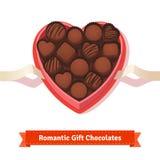 Valentine's day, birthday dark chocolates in box Royalty Free Stock Photo