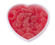 Valentine's day, birthday heart shaped box filled with red strawberry hearts Royalty Free Stock Photos